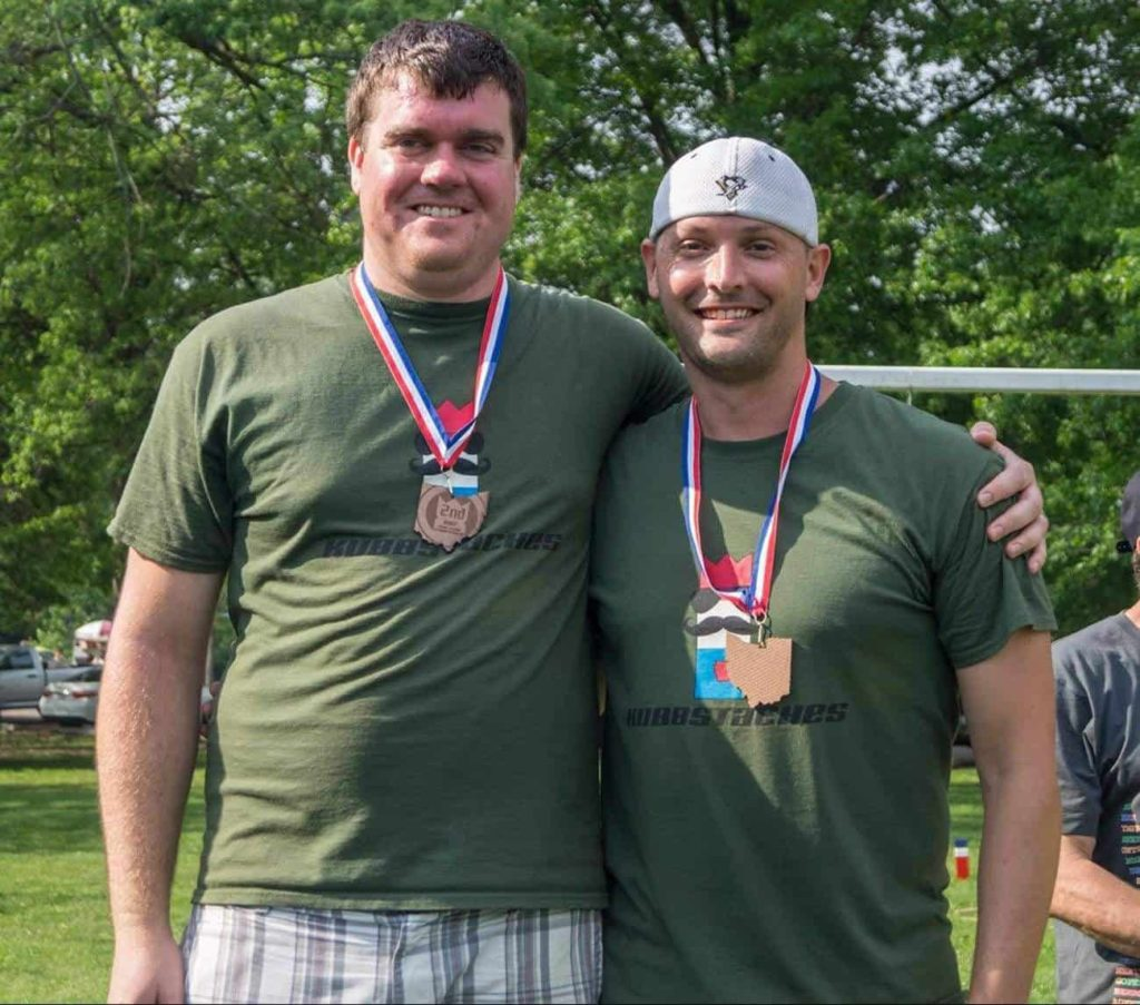 Kubbstaches (Jake Leavitt, Bob Hickes) pose with their second place medals at the 2017 Ohio Kubb Championship.