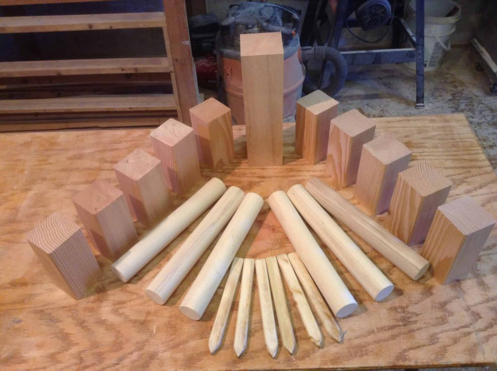 Photo of full kubb set.