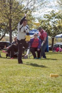 Photo of Kyle Weakland of Kubb Squirrels inkasting.