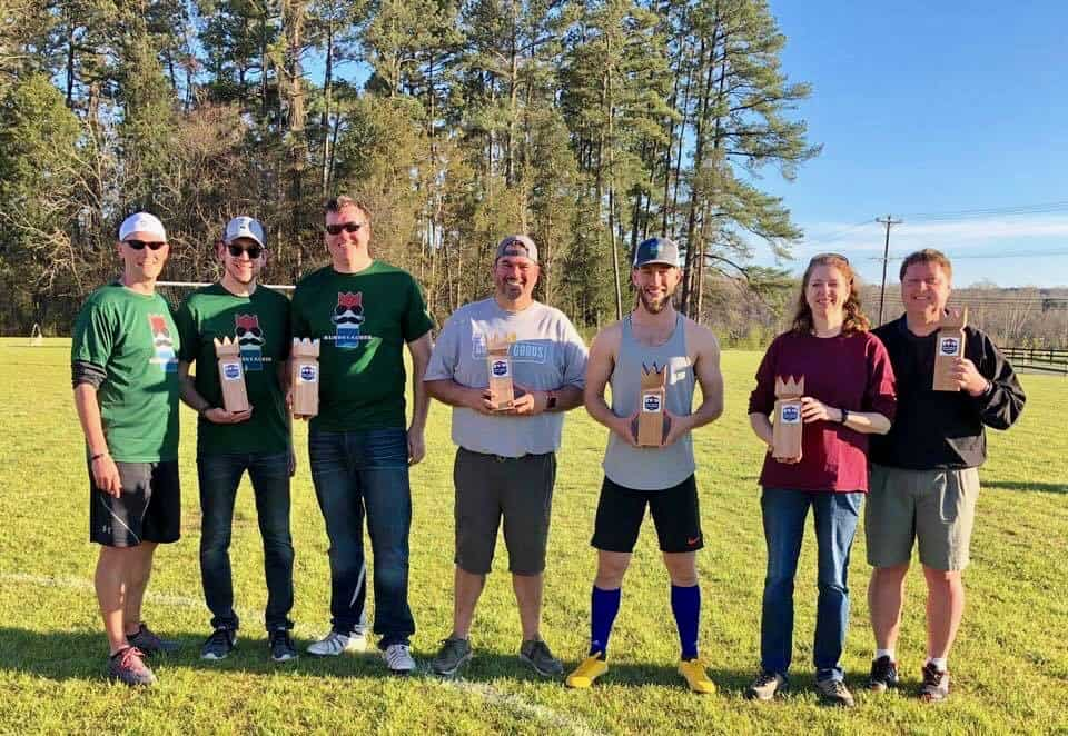Photo of the top three teams at the 2019 East Coast Kubb Championship.
