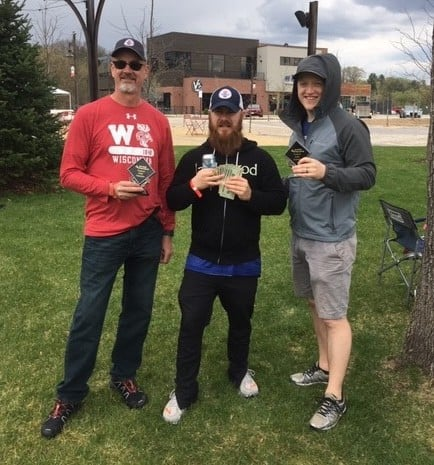 Photo of the winning team at River Prairie Kubb Tournament.