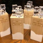 Photo of the trophies from Kubb on the Pond.