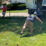 Photo of kubb being played at the 2020 Spring Fling Kubb Scrambler.